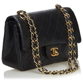 Chanel-Chanel Black Classic Small Lambskin Leather lined Flap Bag-Black