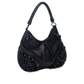 Burberry-Burberry Black Embellished Leather Hobo Bag-Black