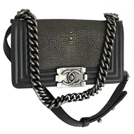 Chanel-Stingray Boy Small Flap Bag Limited edition-Grey,Dark grey