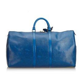 Louis Vuitton-Louis Vuitton Blue Epi Keepall 60-Bleu