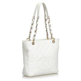 Chanel-Chanel White Caviar Petite Shopping Tote-White,Cream