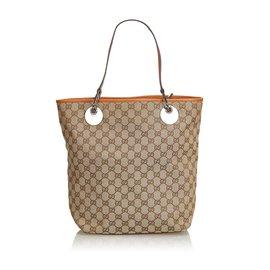Gucci-Gucci Brown GG Jacquard Eclipse Sac cabas-Marron