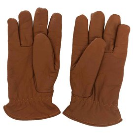 Autre Marque-atlas for men - pair of gold leather gloves linedd T.9-Caramel