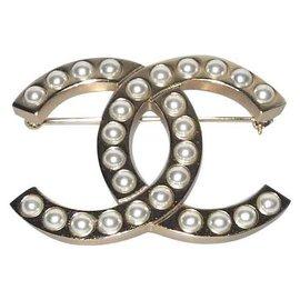 Chanel-Chanel broche métal doré et perles, Collection 2018 superbe-Doré