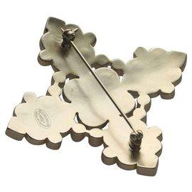 Chanel-Chanel superbe broche croix métal doré, perles et cabochons noirs et corail-Doré