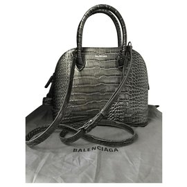 Balenciaga-BALENCIAGA CITY TOP HANDLE S EUR  Petit sac en cuir de veau COCCO STAMP-Gris