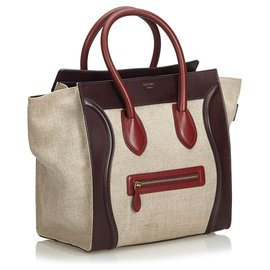 Céline-Celine Brown Leather Luggage Tote Bag-Brown,Red,Dark red