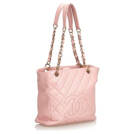 Chanel-Chanel Pink Caviar Petite Shopping Tote-Pink