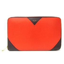 Céline-Celine Orange Multifunction Zip-Around Wallet-Brown,Orange,Dark brown