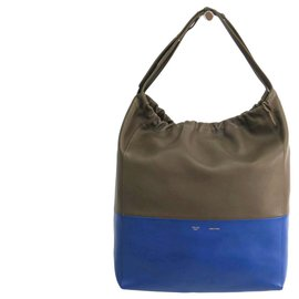 Céline-Celine Brown Bicolore Calf Leather Tote-Brown,Blue,Khaki