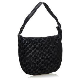 Gucci-Gucci Black GG Suede Hobo Bag-Black