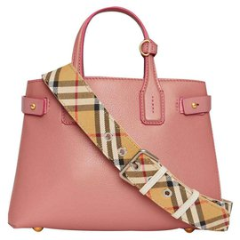 Burberry-BURBERRY The Banner leather bag with Vintage check pattern-Pink