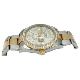 "Rolex-Montre Rolex, ""Oyster Perpetual Datejust"", or jaune, acier, diamants.-Autre"
