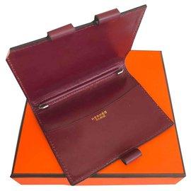 Hermès-Porte agenda en cuir Hermès avec porte mines-Bordeaux