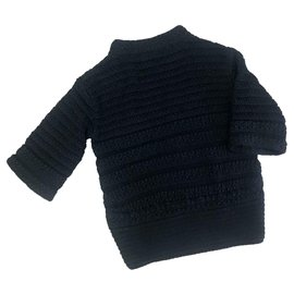 Chanel-Chanel navy blue sweater with jewel-Navy blue