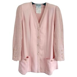 Chanel-Chanel tweed bi-material jacket-Pink