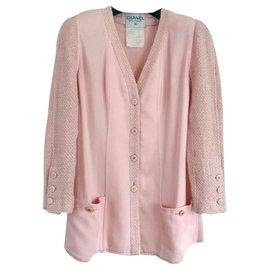 Chanel-Veste bi matières en tweed Chanel-Rose