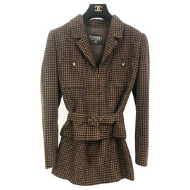 Chanel-Tailor Chanel Jacket Skirt-Brown,Black