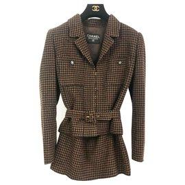 Chanel-Tailleur Chanel veste jupe-Marron,Noir