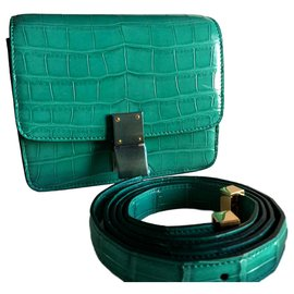 Céline-CELINE SMALL CLASSIC BOX  BAG IN CROCODILE BRAND  NEW-Green