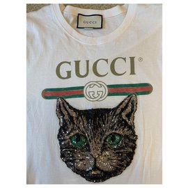 Gucci-Tee shirt broderie chat mystique Gucci-Blanc