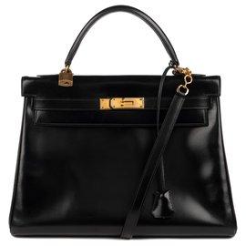 Hermès-Hermès Kelly 32 retourné en cuir box noir avec bandoulière, en excellent état!-Noir