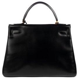 Hermès-hermes kelly 32 returned in black box leather with shoulder strap, in excellent condition!-Black