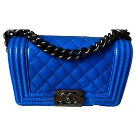 Chanel-Sac Boy Petite Taille-Bleu