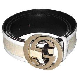 Gucci-Gucci ceinture Buckle cuir blanc et toile monogrammée-Blanc,Crème