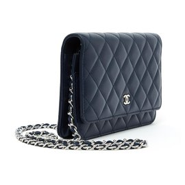 Chanel-TIMELESS WALLET ON CHAIN WOC NAVY SILVER-Navy blue