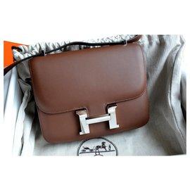 Hermès-Sac Hermès Constance 18 en cuir Sombrero Cacao-Marron,Argenté,Marron foncé