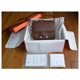 Hermès-Bolsa Hermes Constance 18 em Cuir Cacao Hat-Marrom,Prata,Castanho escuro