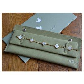 Van Cleef & Arpels-Bracelet Van Cleef and Arpels Vintage Alhambra 5 motifs en or jaune et nacre blanche-Blanc,Doré