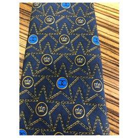Chanel-Cravate monogramme-Bleu foncé