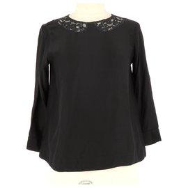 Sandro-Wrap blouse-Black