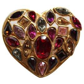 Yves Saint Laurent-Broche pendentif coeur rouge-Rouge