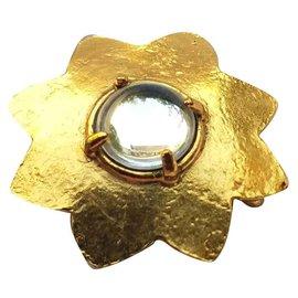 Yves Saint Laurent-Broche pendentif dorée-Doré