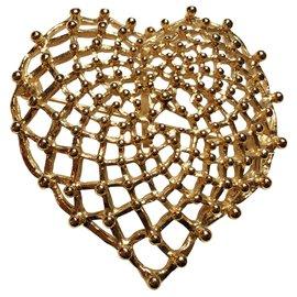 Yves Saint Laurent-Broche pendentif coeur doré-Doré