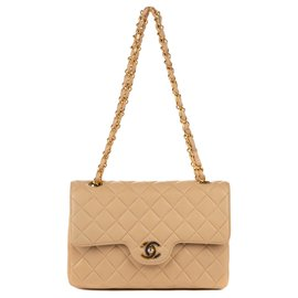 Chanel-Superb Chanel 23 beige quilted lamb in very good condition!-Beige