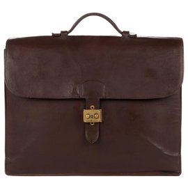 Hermès-Hermès dispatch bag 38 cm brown leather box restored!-Brown