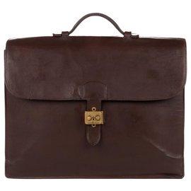 Hermès-Hermes Versandtasche 38 cm braune Lederbox restauriert!-Braun