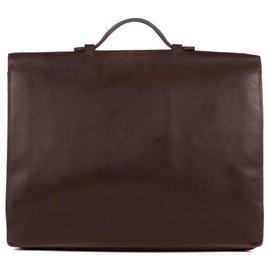 Hermès-Sac à dépêches Hermès 38 cm en cuir box marron restauré !-Marron