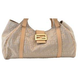 Fendi-Fendi Zucca Shoulder Bag-Khaki