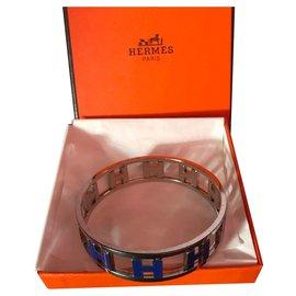 """Hermès-Hermès Vintage Bracelet """"H Tournants"""" in Silver and Blue Email-Blue"""