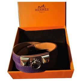 "Hermès-Hermès ""Rivale"" Bracelet in Palladium Plated and Swift calf leather: Purple-Purple"