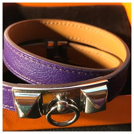 "Hermès-Hermès ""Rivale"" Bracelet in Palladium Plated and Swift calf leather: Purple-Purple"