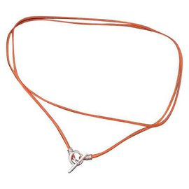 Hermès-Hermès necklace mini Hermès ink chain in silver and silk-Brown,Silvery