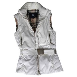 Burberry-Burberry Belted Sleeveless Jacket.-Eggshell
