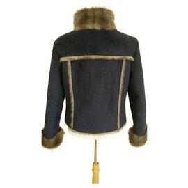 Balmain-BALMAIN Jacke aus Wildlederimitat 42-Braun