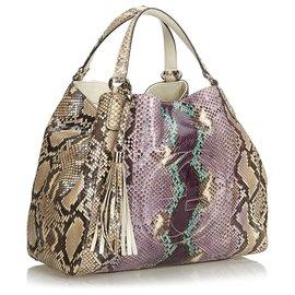 Gucci-Sac Soho en python moyen brun de Gucci-Marron,Multicolore,Beige